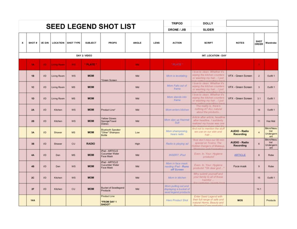 2019_04_23 _ SEED LEGEND _ SHOT LIST - Shotlist